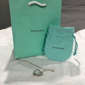 Authentic Tiffany &Co Open Heart Pendant Necklace